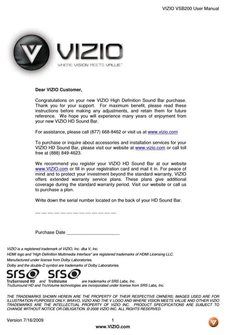 VIZIO User's Manual Sample