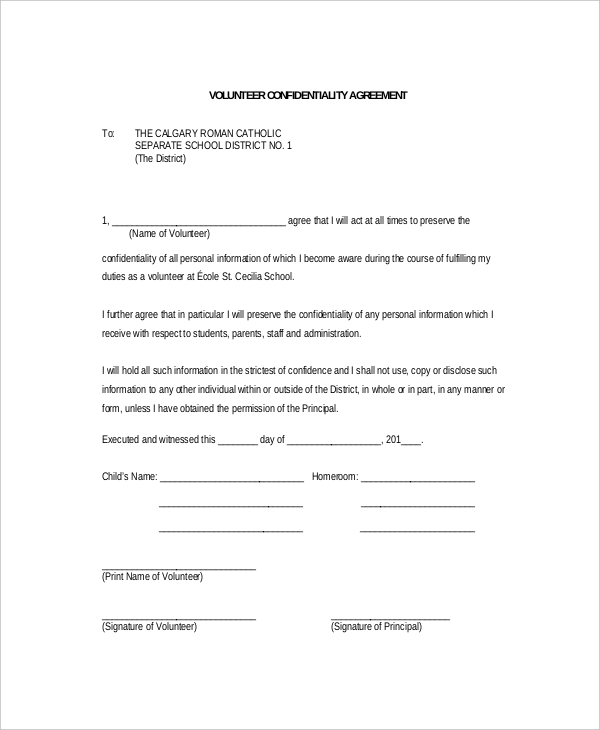 Volunteer Confidentiality Agreement Form Sample