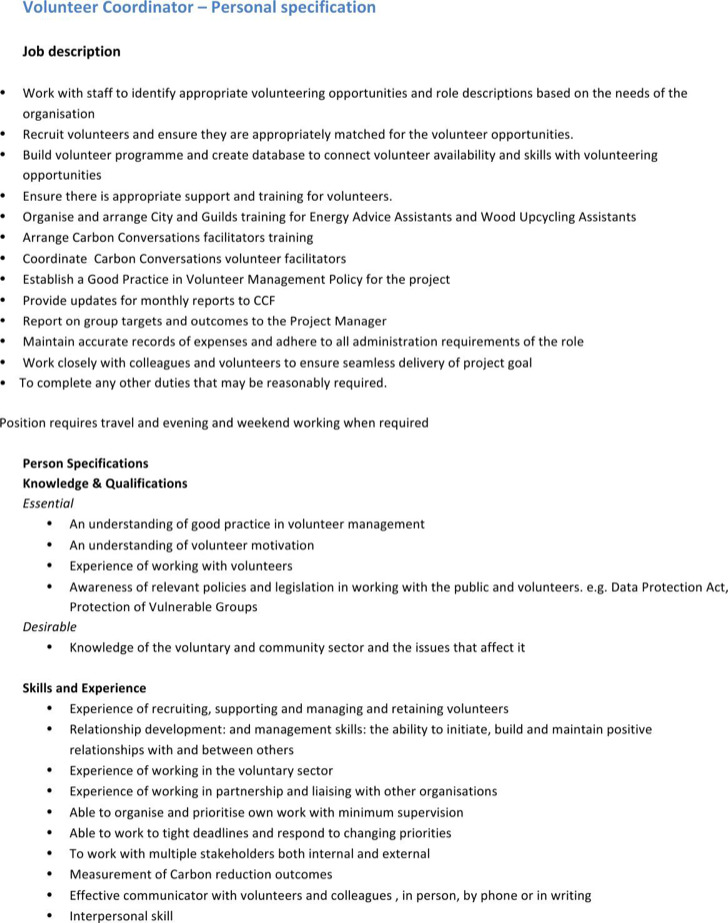 Volunteer Job Description Template