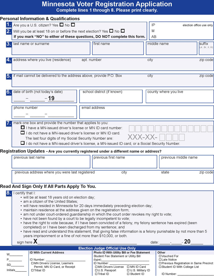 Voter Registration Application - Minnesota