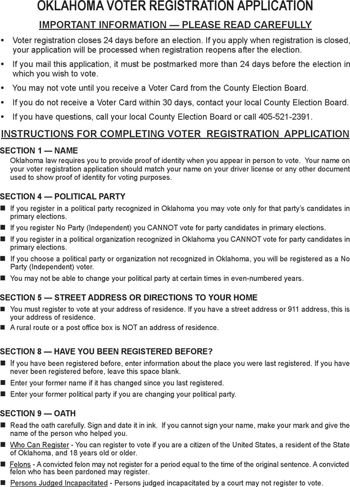 Voter Registration Form - State of Oklahoma