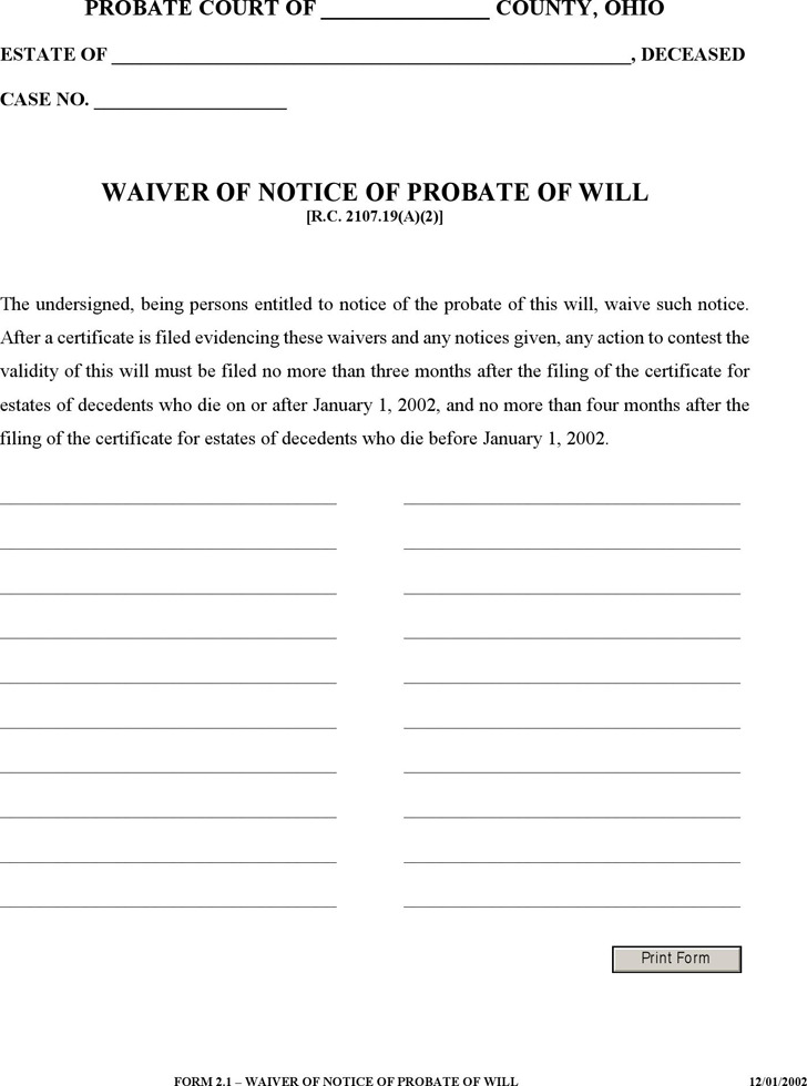 Waiver of Notice of Probate of Will