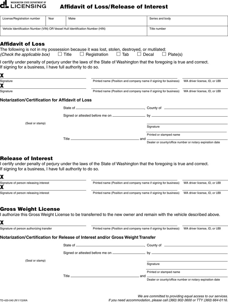 Washington Affidavit of Loss/Release of Interest