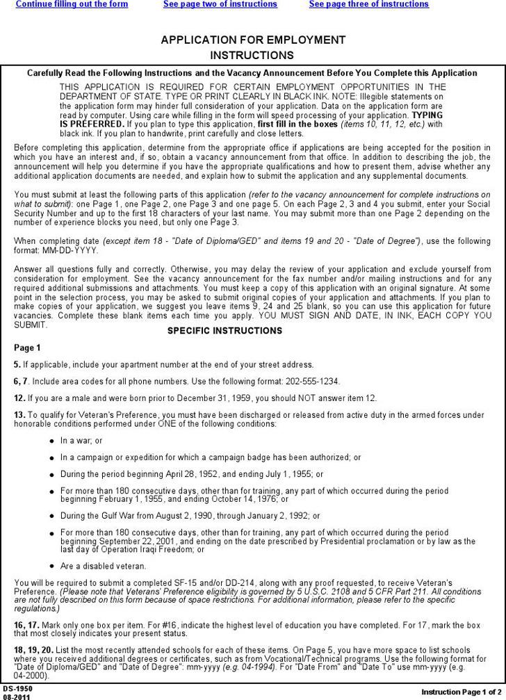 Washington Application for Employment