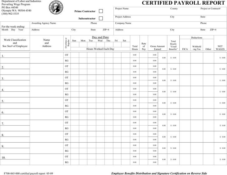 Washington Certified Project Payroll