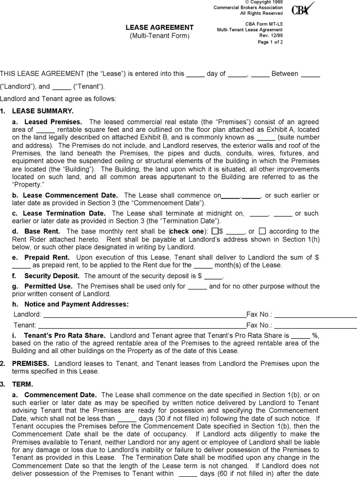 Washington Commercial Lease Agreement Form
