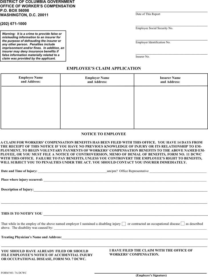 Washington Employee's Claim Application