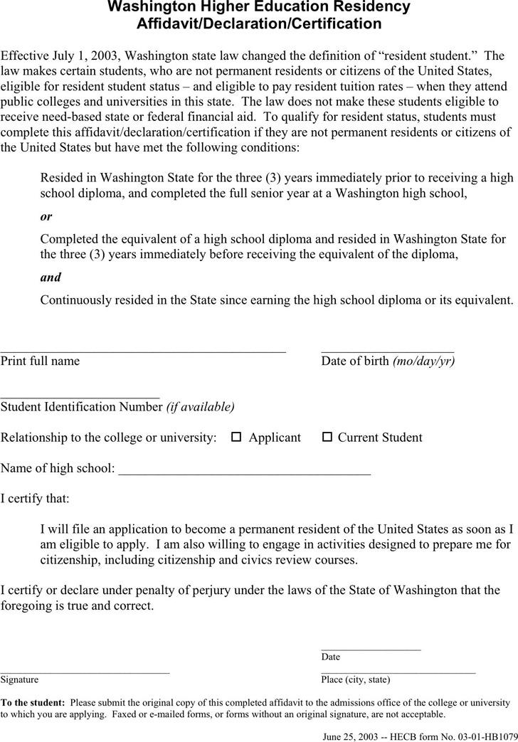 Washington Higher Education Residency Affidavit