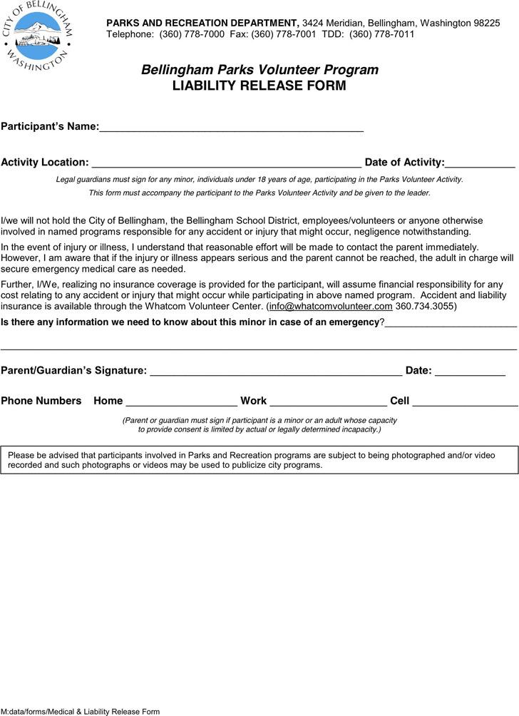 Washington Liability Release Form 1