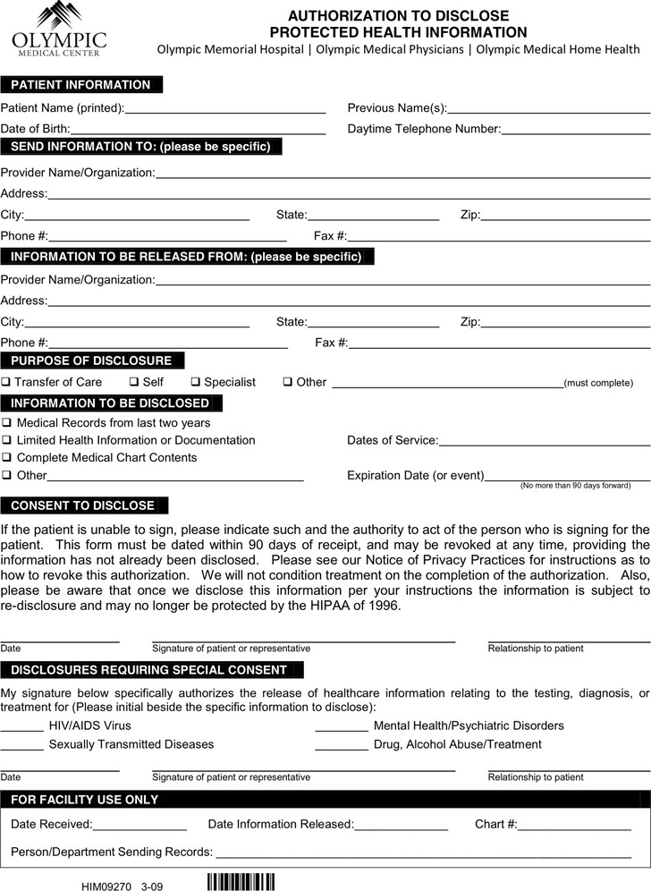 Washington Medical Records Release Form 3