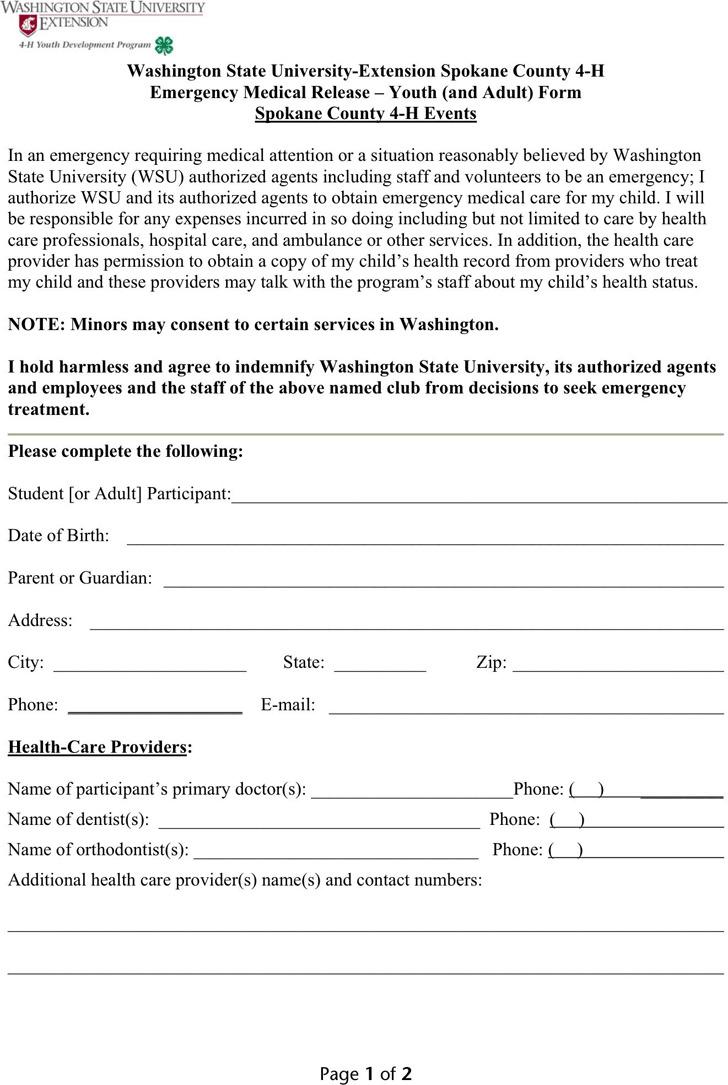 Washington Medical Release Form 2