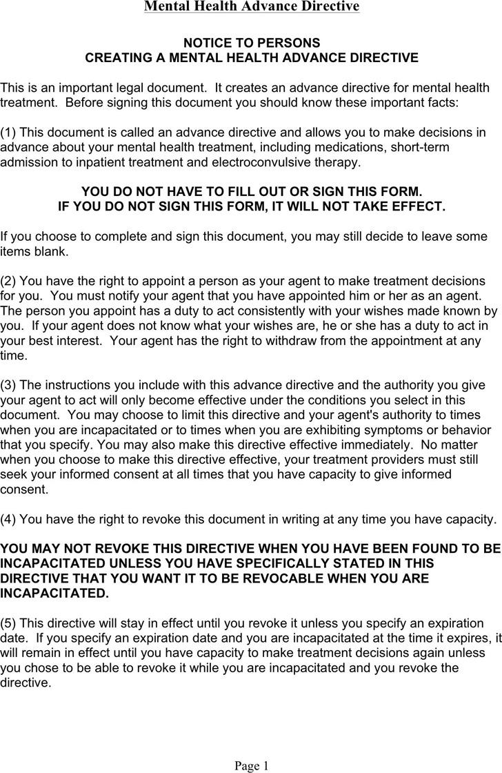 Washington Mental Health Advance Directive Form