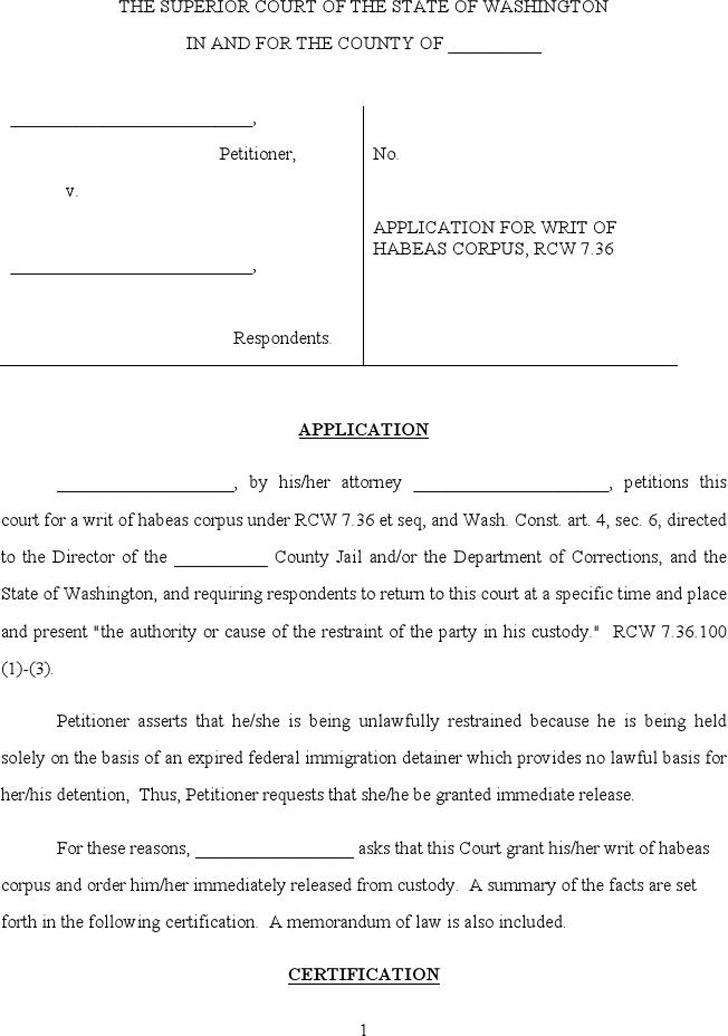 Washington Petition for Writ of Habeas Corpus