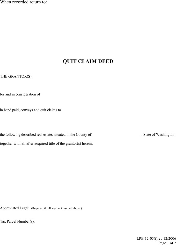 Washington Quitclaim Deed Form | Download Free & Premium Templates