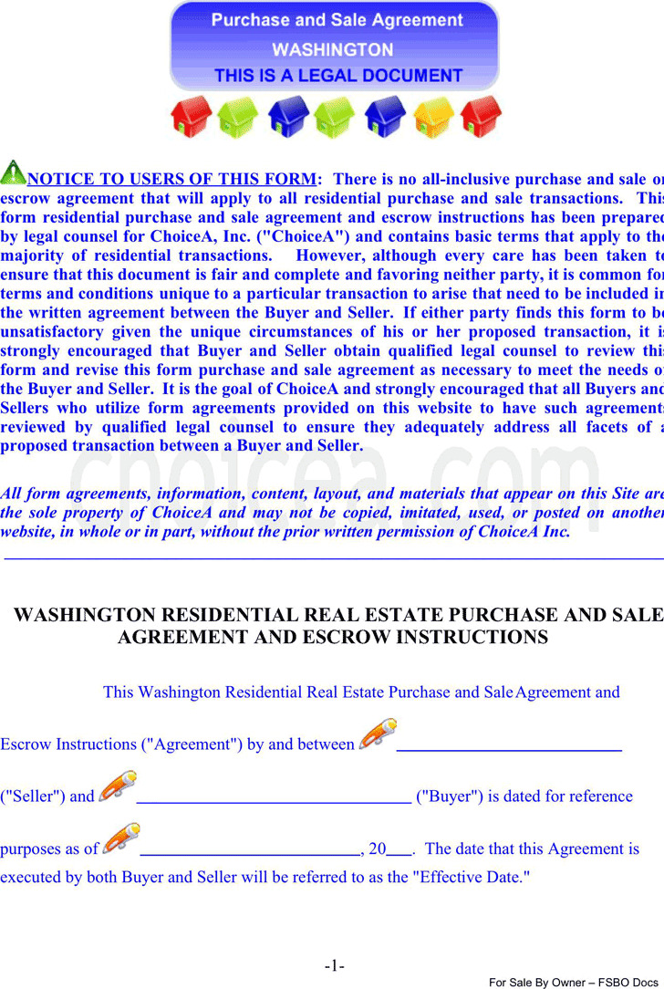 Washington Residential Real Estate Purchase And Sale Agreement And Escrow Instructions
