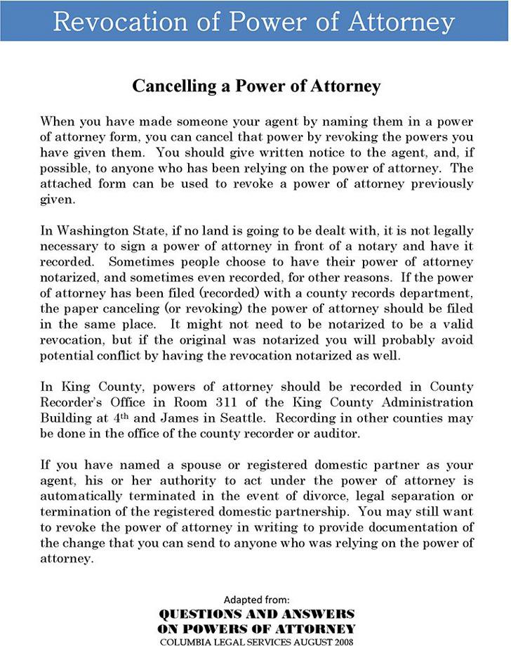 Washington Revocation Power of Attorney