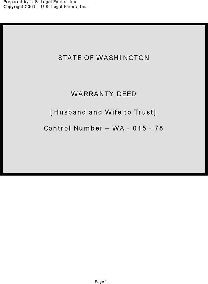 Washington Warranty Deed (Husband and Wife to Trust)