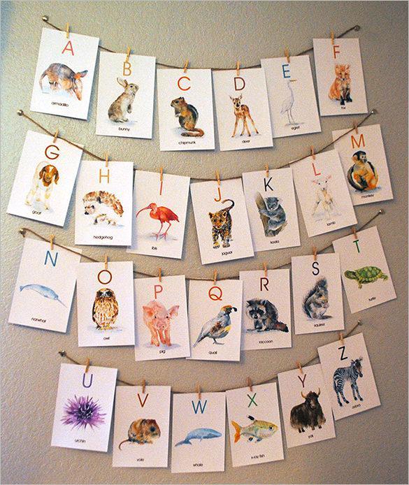 Watercolor Animal Flash Card Template