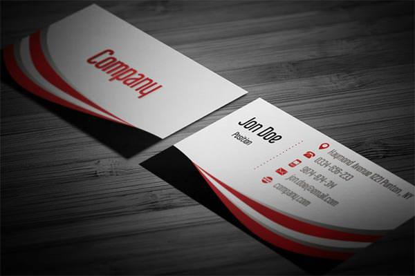 Wavy Black and Red Business Card Template
