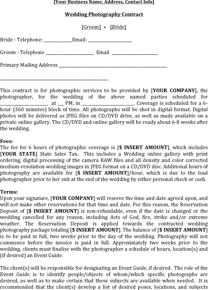 Photography Contract Template  Download Free  Premium Templates