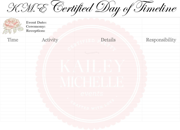Wedding Timeline Samples