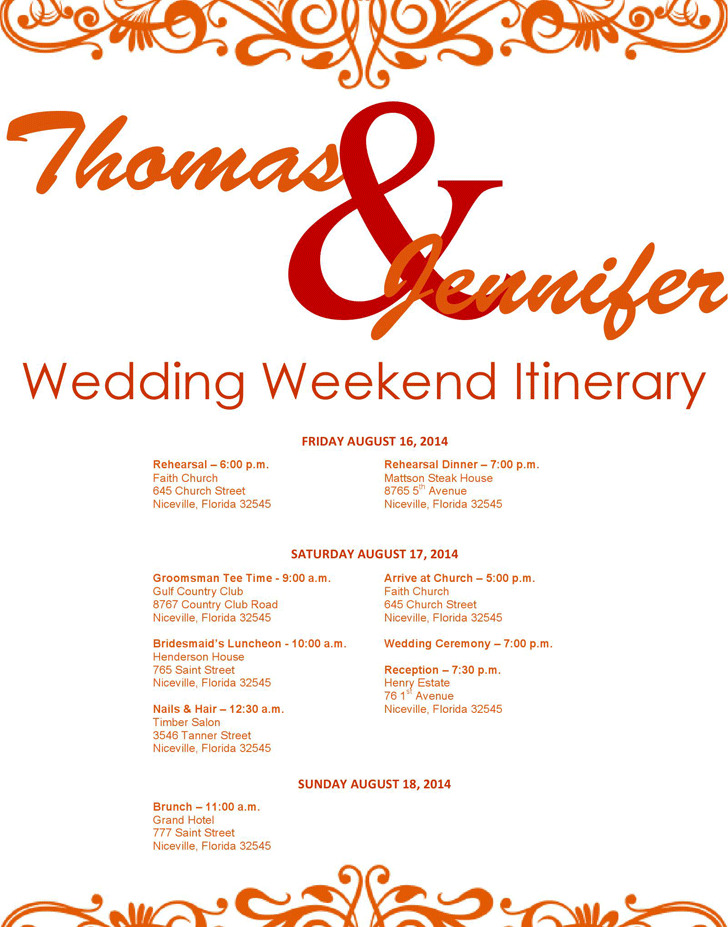 Wedding Itinerary Template  Download Free  Premium Templates