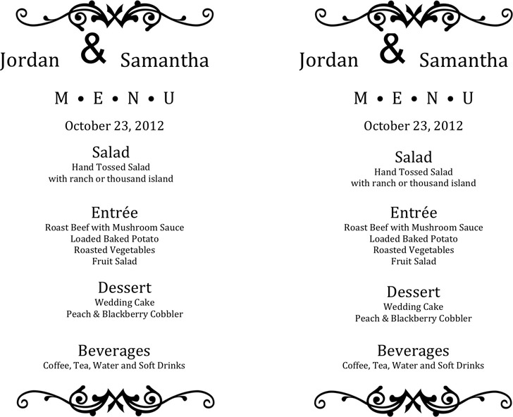 Wedding Menu Template  Download Free  Premium Templates Forms