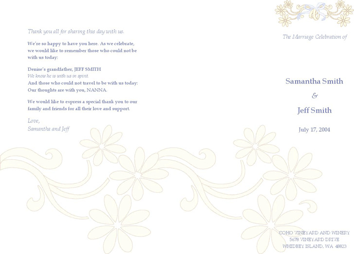 Wedding Program Template 1