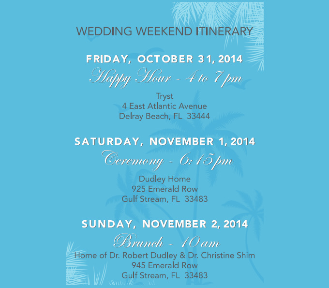 Wedding Weekend Itinerary Template Pdf