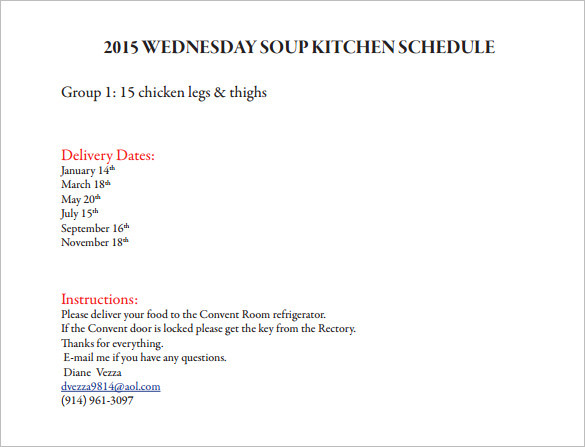 Wednesday Soup Kitchen Schedule Template for 2015