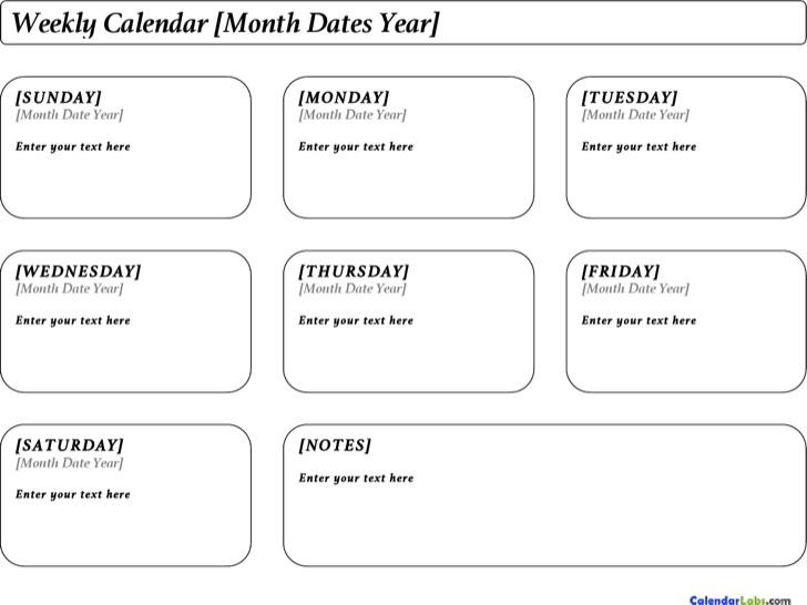 Week Calendar Landscape Template