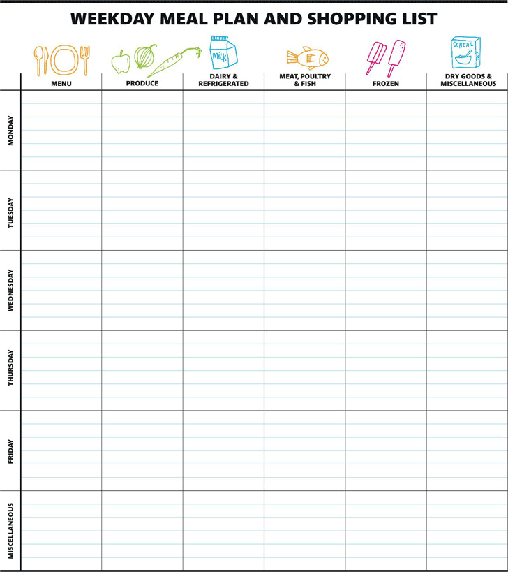 Weekday Meal Plan And Shopping List