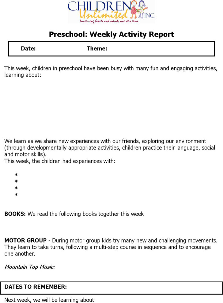 Weekly Activity Report Template  Resume Ideas  NamanasaCom
