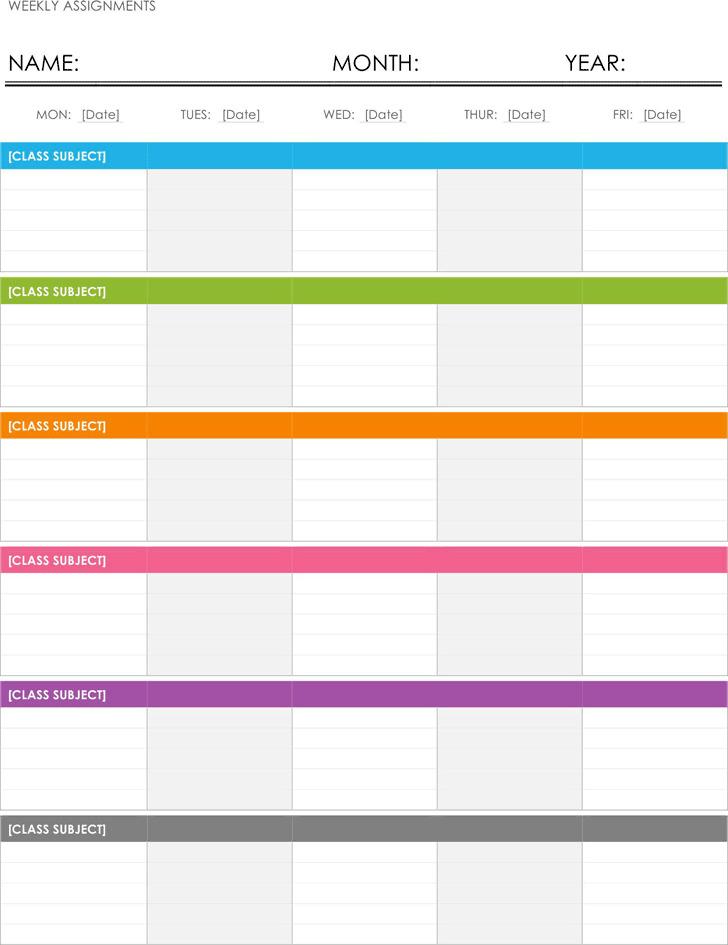 Weekly Assignment Calendar Template