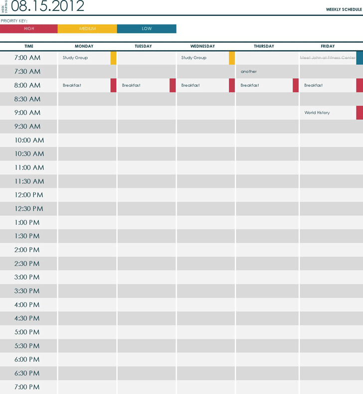 College Schedule Template  Download Free  Premium Templates Forms