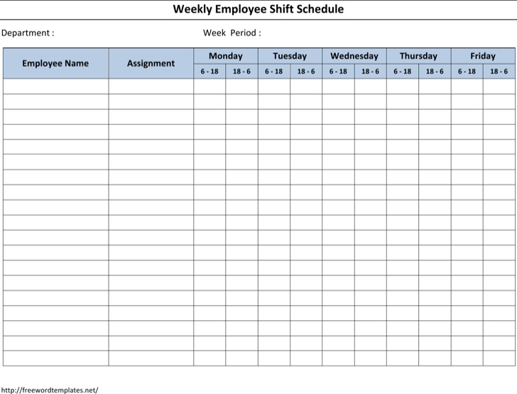 Employee Schedule Template Free Printable Work Schedules Weekly