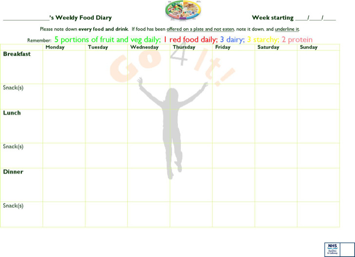 Weekly Food Diary Template Microsoft Word  Ms Word Diary Template