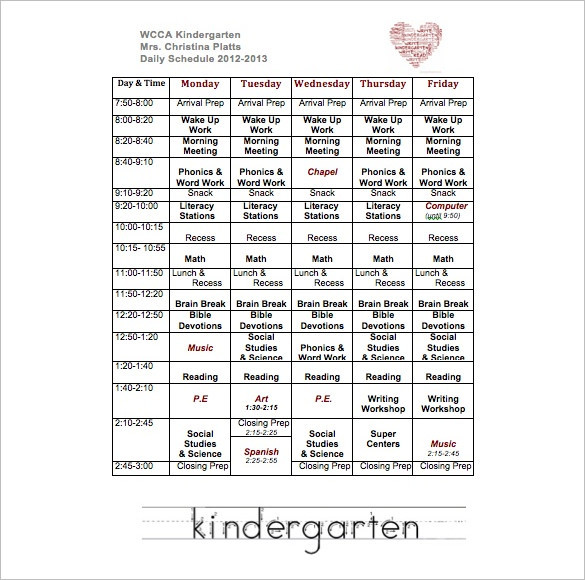 Weekly Kindergarten School Schedule Template PDF Download