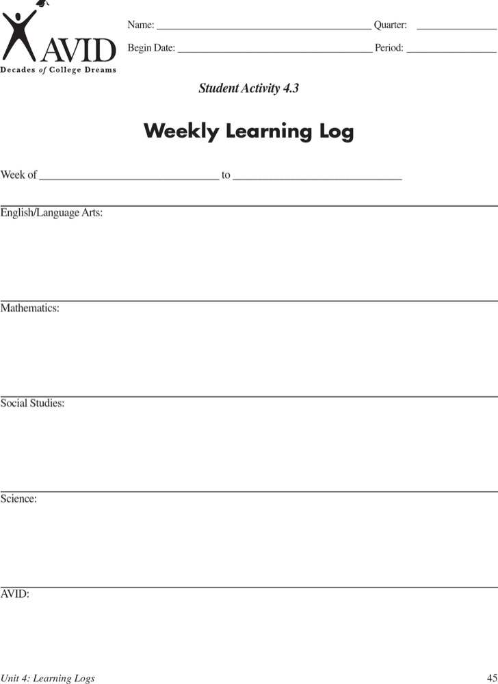 Learning Log Templates  Download Free  Premium Templates Forms