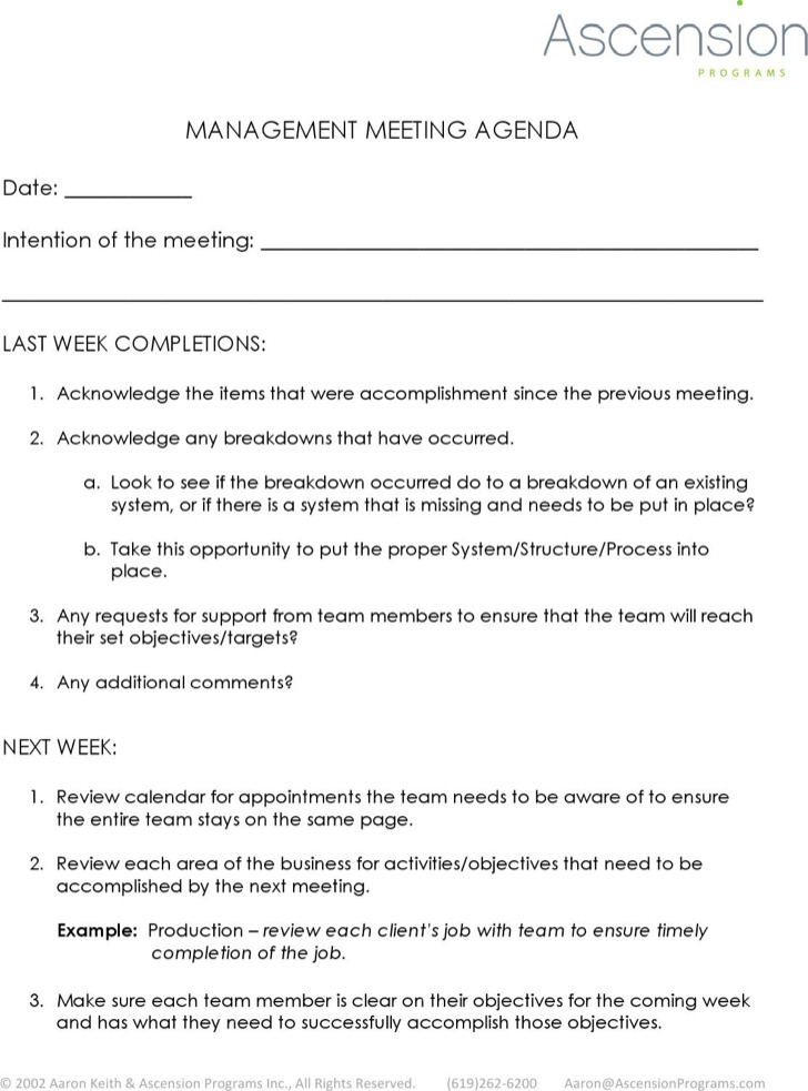 Weekly Meeting Agenda Template – Weekly Meeting Agenda Template