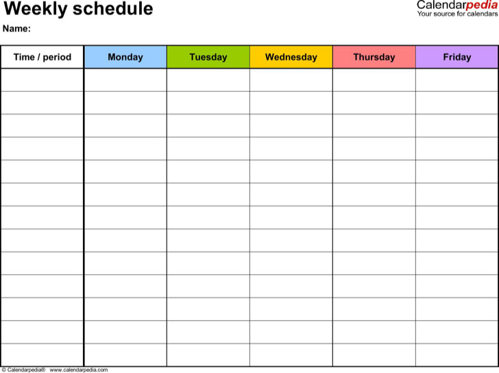 Weekly Schedule Monday To Friday In Color Pdf Format