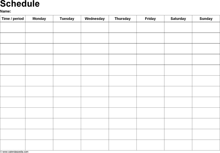 Weekly Schedule Template 1