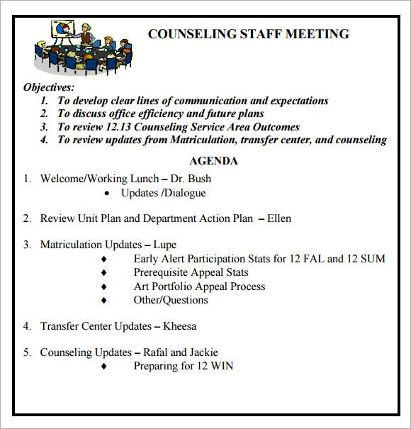 Weekly Staff Meeting Agenda Template PDF Format Download
