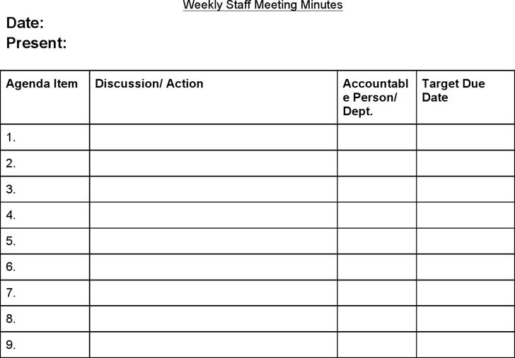 Staff Meeting Agenda Template – Weekly Meeting Agenda Template