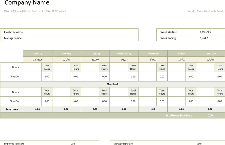 Weekly Timesheet Template  Download Free  Premium Templates