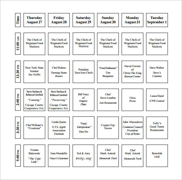 Wegmans Demonstration Kitchen Cooking Schedule Template