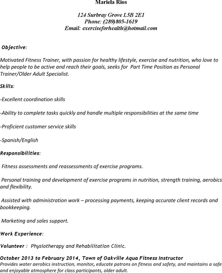 Personal Trainer Resume Templates Download Free