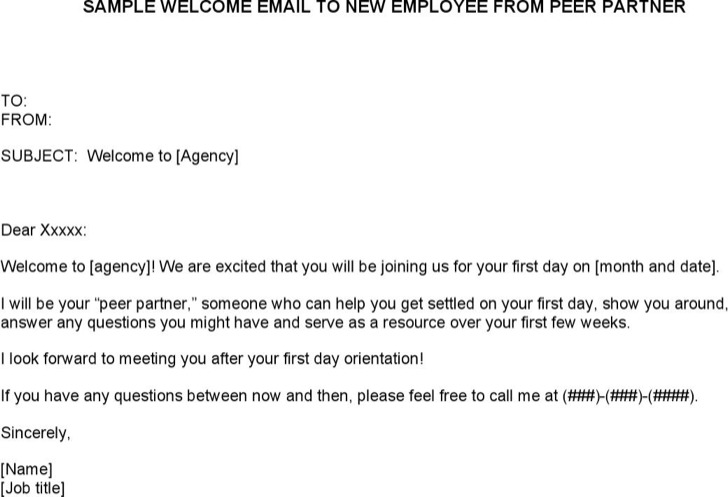 Welcome Email Template For New Employee