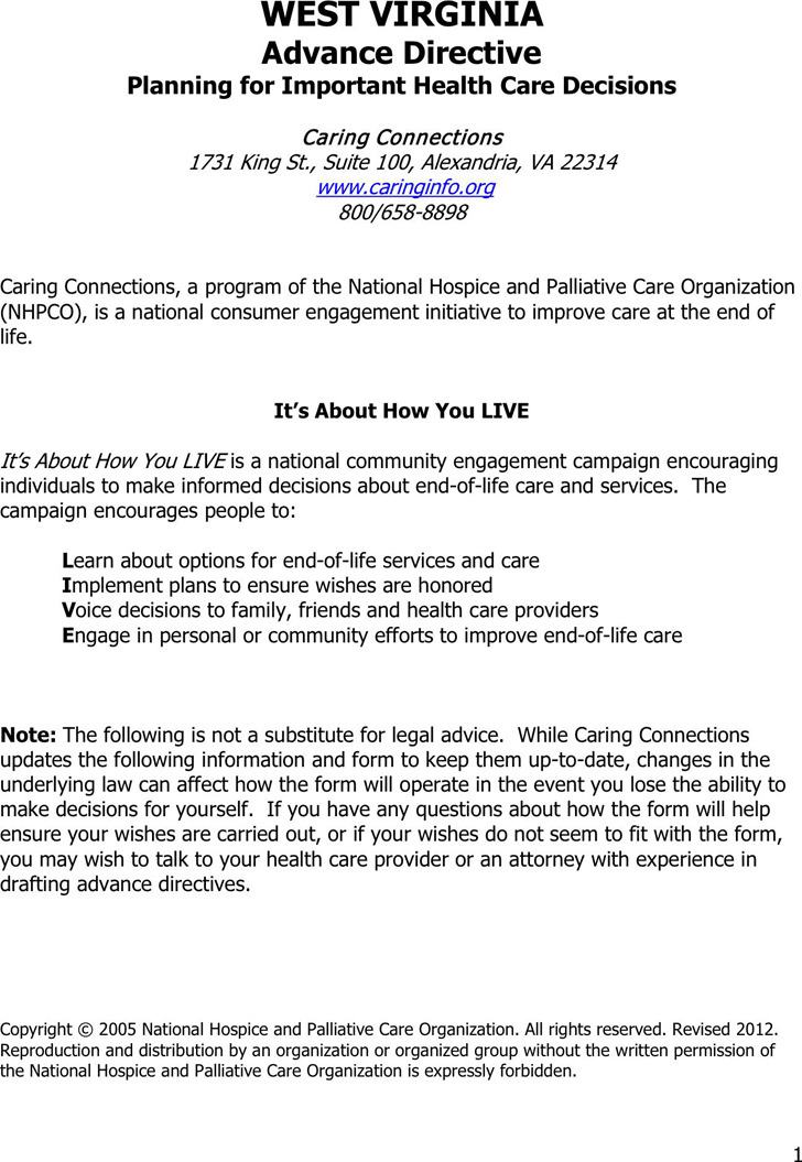 West Virginia Advance Health Care Directive Form