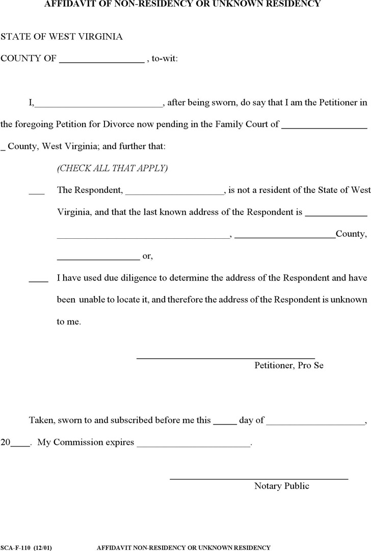 West Virginia Affidavit of Unknown or out of State Residency Form